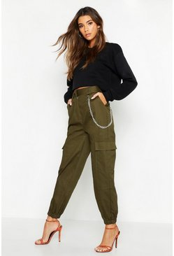 Womens Khaki Chain Trim Pocket Cargo Pants