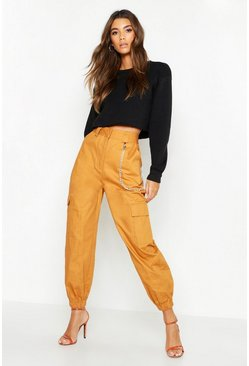 Womens Sand Chain Trim Pocket Cargo Trousers