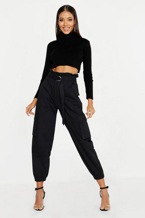 Womens Black Paperbag D-Ring Belted Cargo Trousers