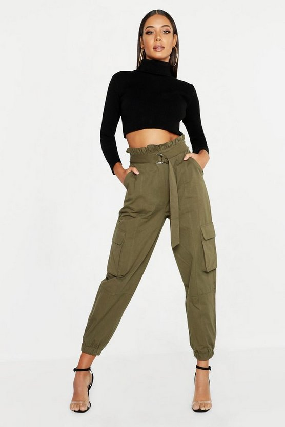 Womens Khaki Paper Bag D-Ring Belted Cargo Pants