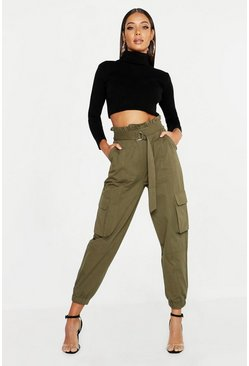 Womens Khaki Paperbag D-Ring Belted Cargo Trousers