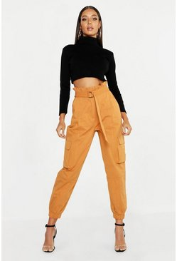 Womens Tobacco Paperbag D-Ring Belted Cargo Trousers