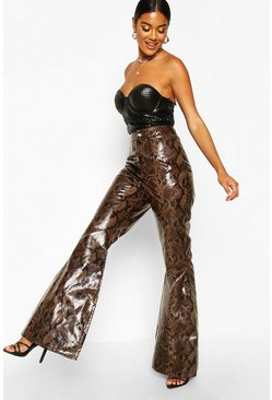 Womens Brown Snake PU Flare Trousers