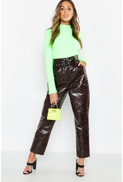 Womens Chocolate Snake Print Leather Look Belted Pants