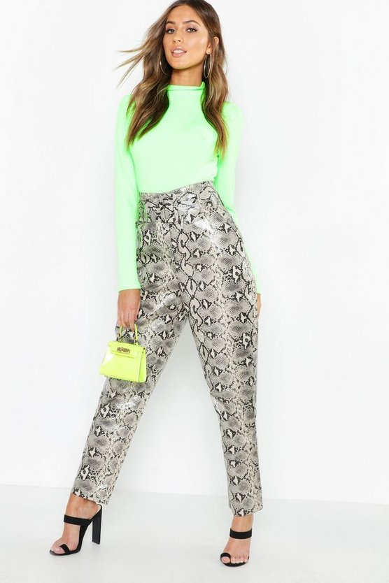 Womens Sand Snake Print Leather Look Belted Pants