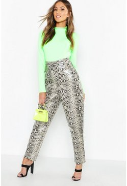 Womens Sand Snake Print Leather Look Belted Trousers