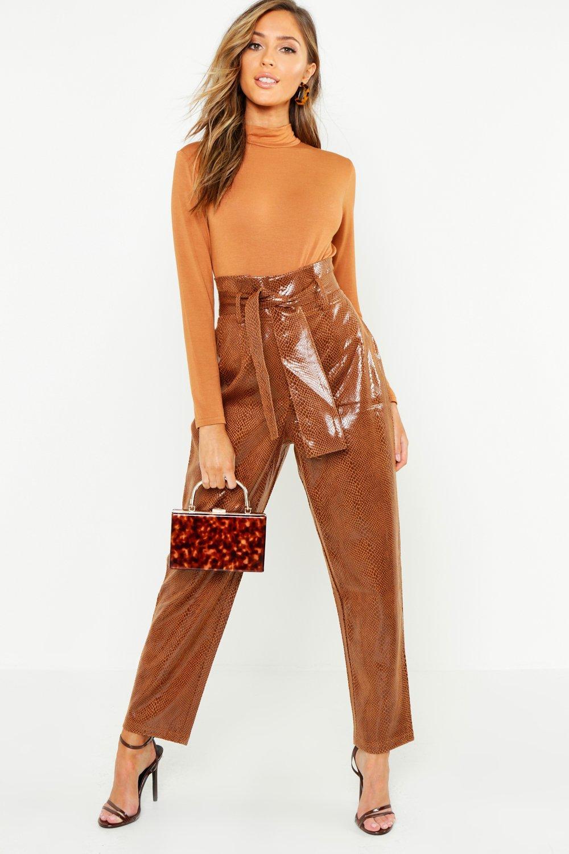 Snake Print PU High Waist Paperbag Trouser