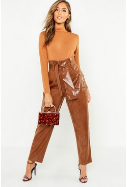 Womens Rust Snake Print Leather Look Paperbag Pants