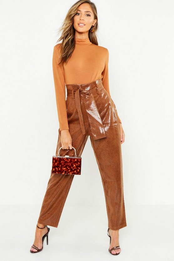 Snake Print Pu High Waist Paperbag Pants