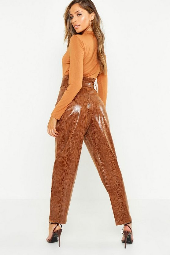 Snake Print Leather Look Paperbag Trouser