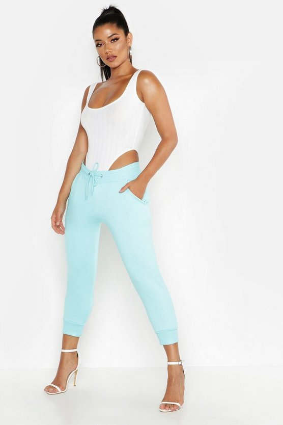 Womens Turquoise Cropped Basic Jogger