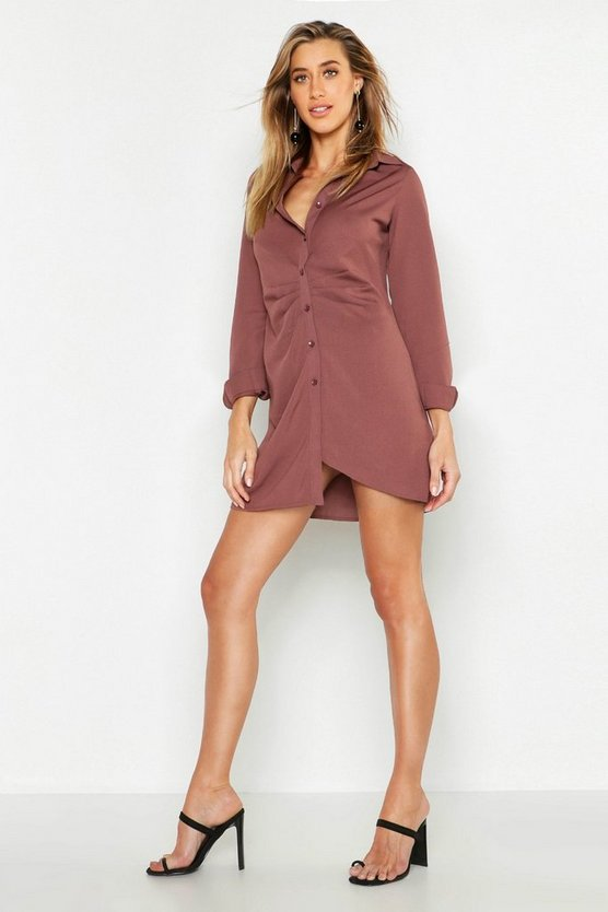 Crepe Gathered Front Mini Shirt Dress