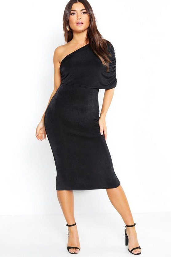 Womens Black One Shoulder Ruched Detail Slinky Midi Dress