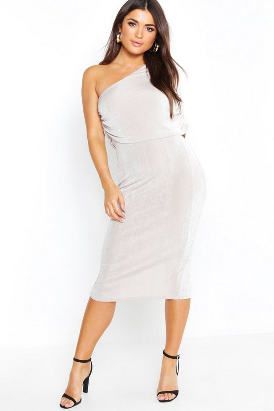 One Shoulder Ruched Detail Slinky Midi Dress