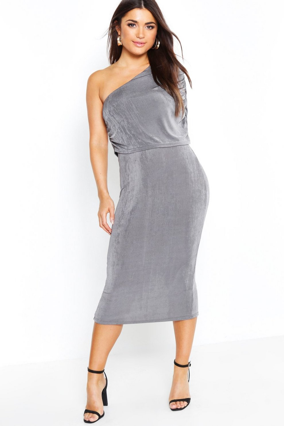 05f2d49440c7 One Shoulder Ruched Detail Slinky Midi Dress | Boohoo