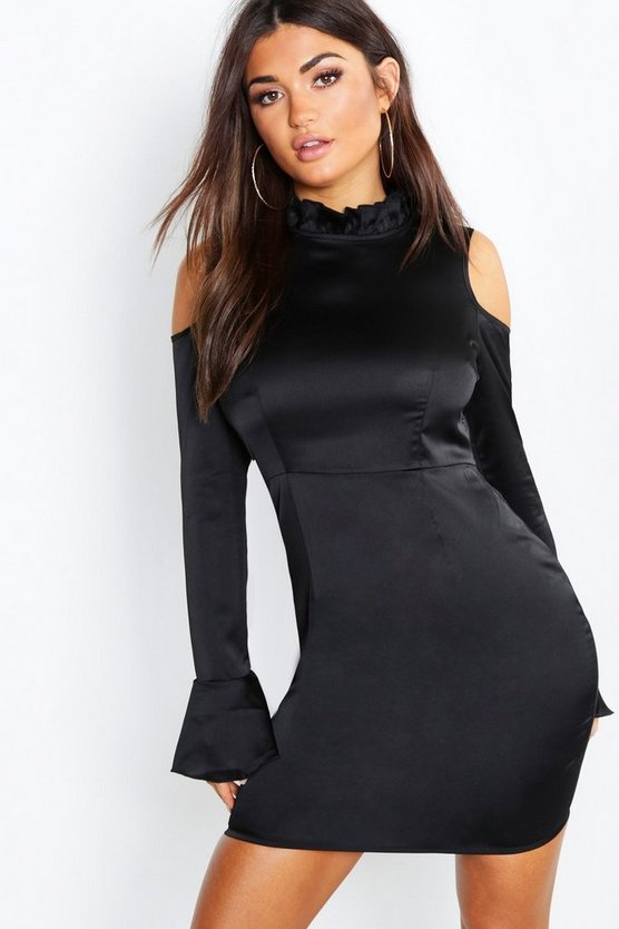 Satin Ruffle Neck Cold Shoulder Bodycon Dress