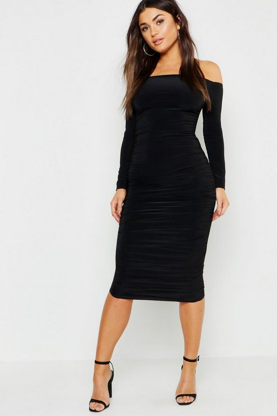 Slinky Bardot Ruched Midi Dress