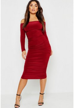 Womens Wine Slinky Bardot Ruched Midi Dress