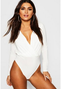 Womens Cream Long Sleeve Wrap Front Bodysuit
