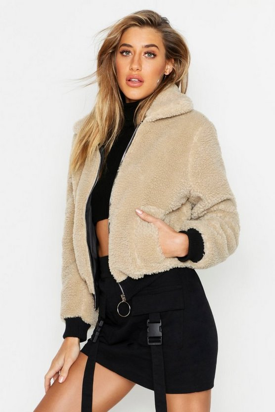 Stone Teddy Faux Fur Trucker Jacket