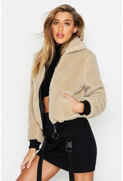 Womens Stone Teddy Faux Fur Trucker Jacket