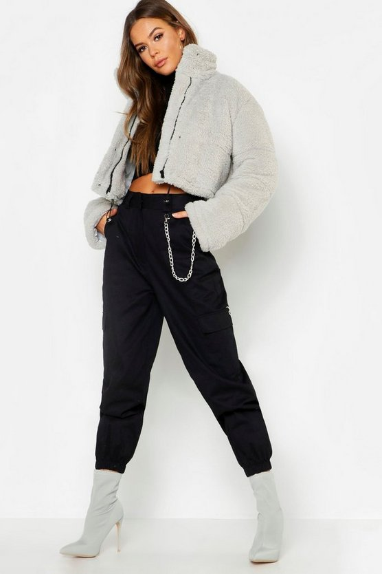 Crop Fleece Oversize Puffer
