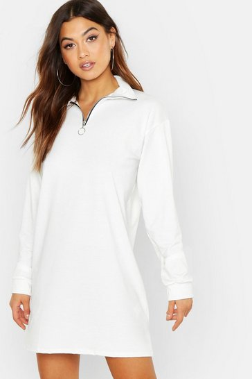 Womens Ecru O Ring Detail Sweat Dress