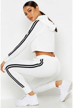 Womens Ecru Athleisure Sports Stripe Tracksuit