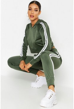 Womens Khaki Athleisure Sports Stripe Tracksuit
