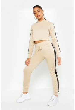 Womens Stone Athleisure Sports Stripe Tracksuit