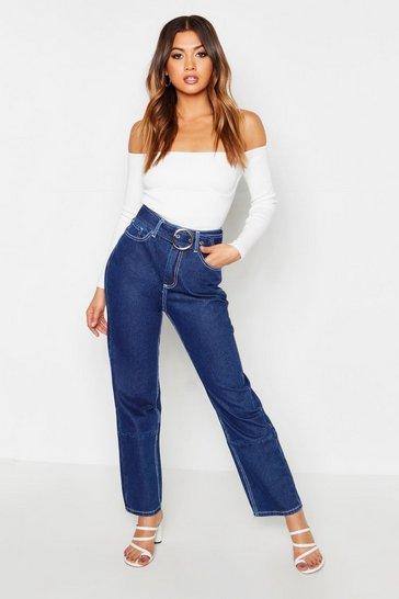Womens Indigo Contrast Stitching Belted High Waist Jeans