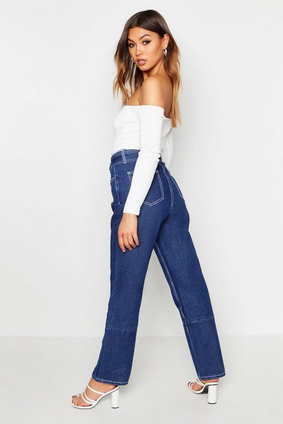 Contrast Stitching Belted High Waist Jeans