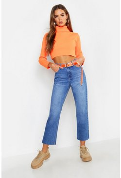High Rise Raw Hem Straight Leg Jeans, Mid blue, Donna