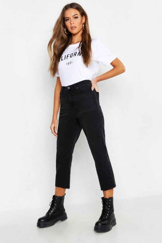High Rise Raw Hem Straight Leg Jeans