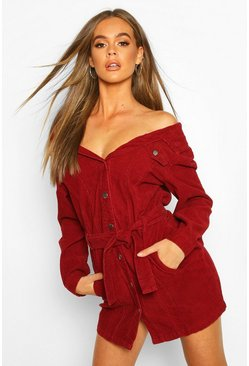 Burgundy Cord Off The Shoulder Belted Denim Shirt Dress