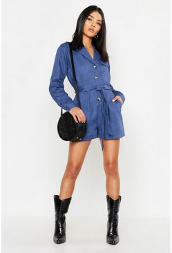 Womens Indigo Utility Belted Denim Playsuit