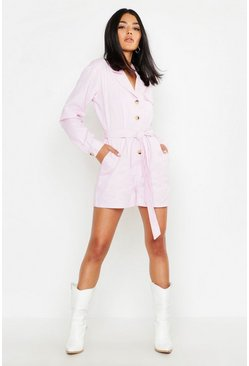 Womens Pink Utility Belted Denim Romper