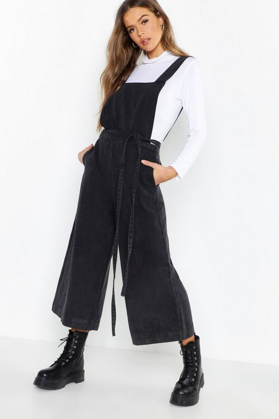 Washed black Open Back Tie Waist Wide Leg Denim Jumpsuit