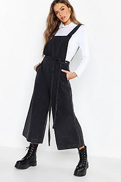 Open Back Tie Waist Wide Leg Denim Jumpsuit