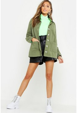 Womens Khaki Utility Pocket Denim Shirt Jacket
