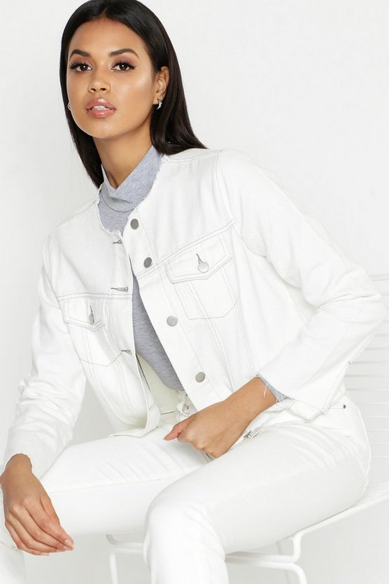 Womens White White Raw Hem Contrast Stitch Denim Jacket