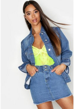 Womens Mid blue Power Shoulder Denim Jacket