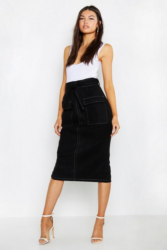 Womens Black Contrast Stitch Utility Pocket Midi Skirt