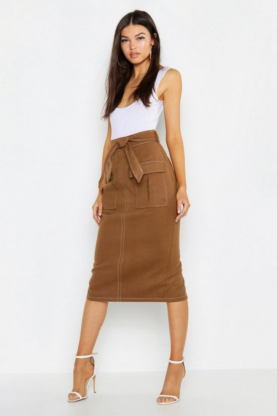 Contrast Stitch Utility Pocket Midi Skirt