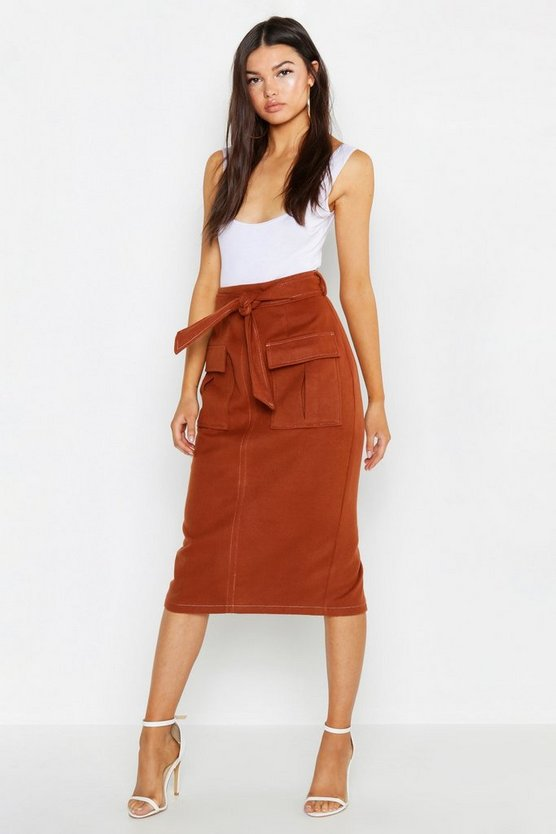 Womens Rust Contrast Stitch Utility Pocket Midi Skirt