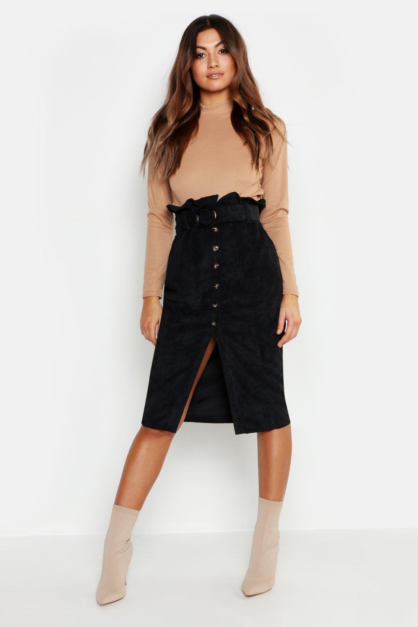 Cord Paperbag Button Midi Skirt