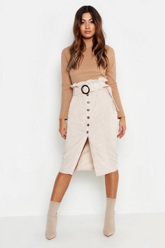 Ecru Cord Paperbag Button Midi Skirt
