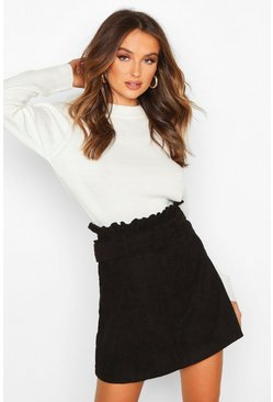 Black Cord Belted Mini Skirt