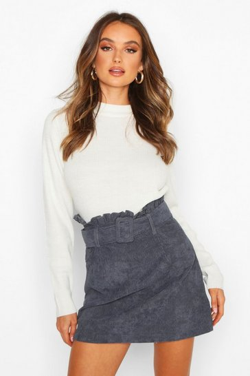 Womens Denim Cord Belted Mini Skirt