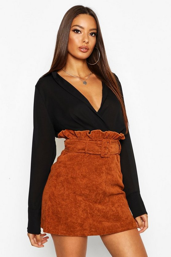 Womens Tan Cord Belted Mini Skirt